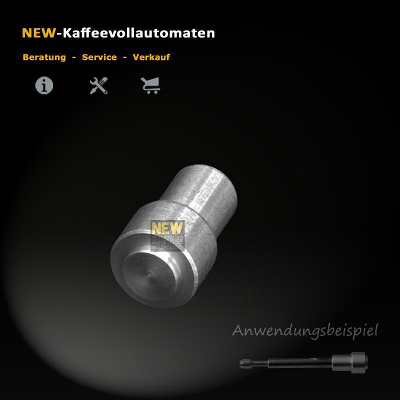 Alu Kappe Huelse zu Ventil Stift Stoessel im Drainageventil von AEG Bruehgruppe von Kaffeevollautomat