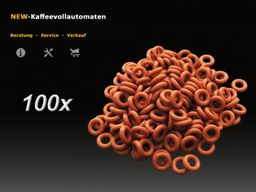 100x Dichtung O-Ring rot zu 4mm Druckschlauch DeLonghi Kaffeevollautomat